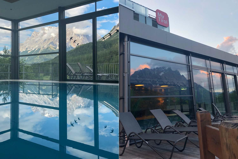 Spiegelungen der Zugspitze im Hotelpool