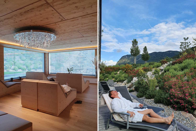 Energie tanken im Ruheraum und Sonne auf der Terrasse