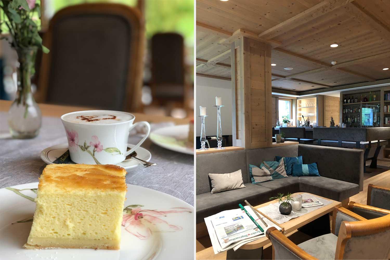 Kaffee & Kuchen im gemütlichen Aufenthaltsbereich des Hotels