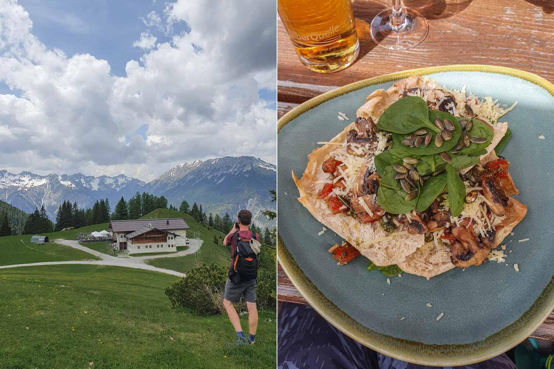 Panoramablick und Bergbruschetta
