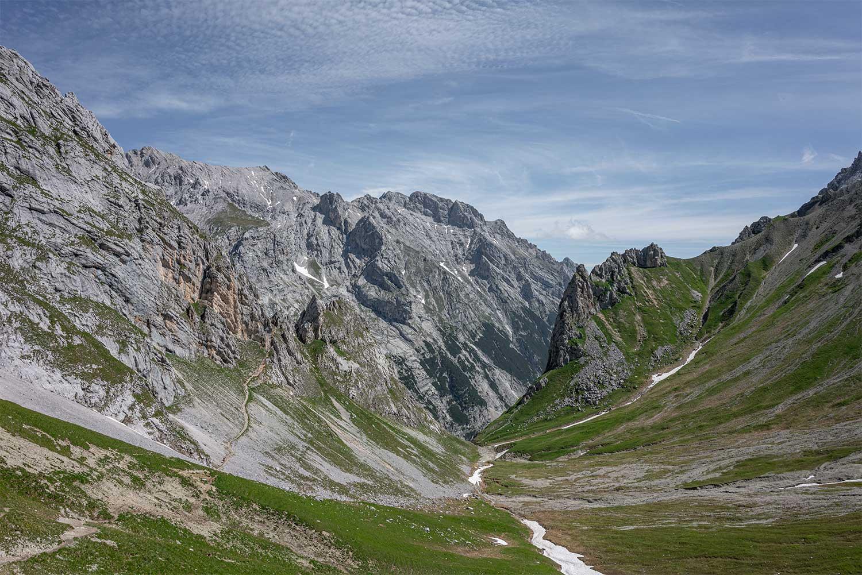 Wahnsinns Panoramablick zurück in Richtung Gatterl und Reintal