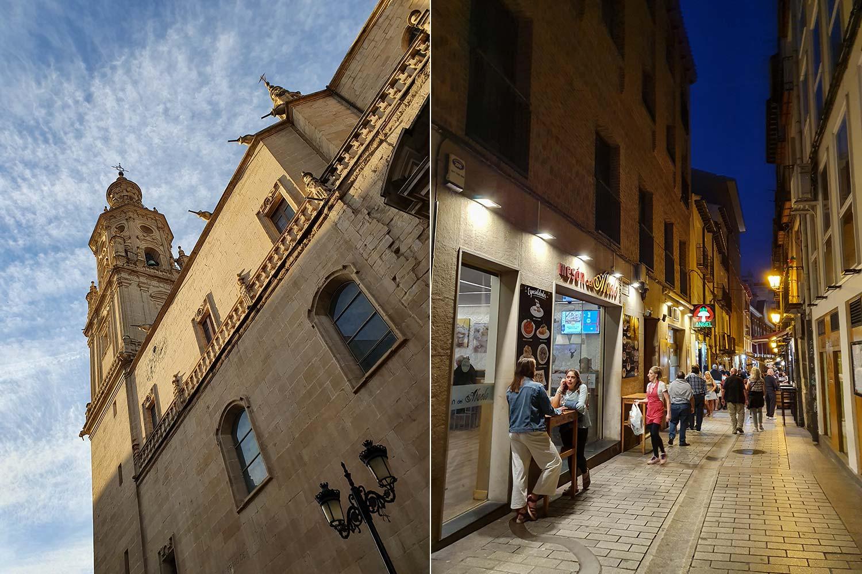 Altstadt von Logroño Tag und Nacht