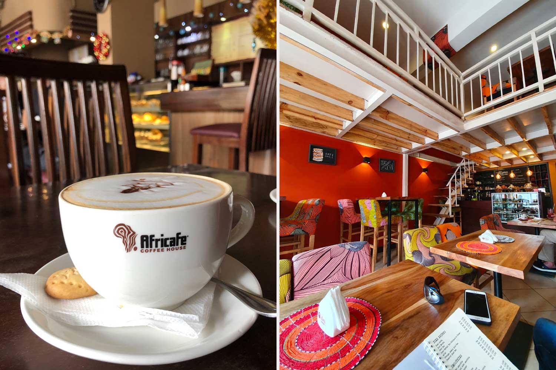 links im altbackenen AfriCafe, rechts im jungen Kitamu Coffee