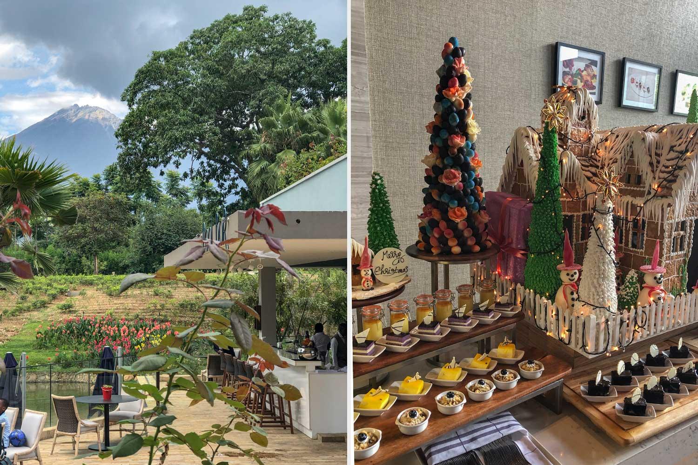 Dessert Buffet zu Weihnachten und freier Blick auf Mount Meru an der Pool Bar