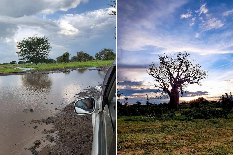Regen führte zu überschwemmten Wegen aber auch einem traumhaften Sonnenuntergang