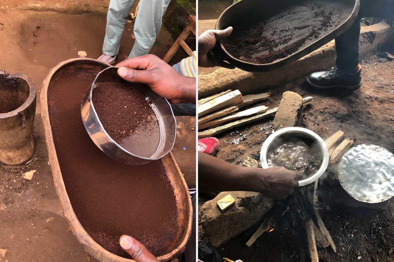 der frische Kaffeegeruch ist im ganzen Dorf zu riechen